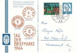 ! 1964 Tag Der Briefmarke, Kiel, Privatganzsache, Deutsch Dänische Feldpoststempel 1864 - Privé Postkaarten - Gebruikt