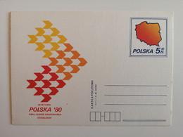 1980..POLAND. POSTCARD  WITH ORIGINAL  STAMP. EXHIBITION..POLAND..COUNTRY-PEOPLE-ECONOMY..DUSSELDORF'80 - Briefe U. Dokumente
