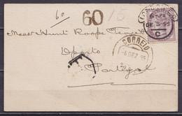 """Carte """"Harrington & White"""" Affr. 1p Càd LONDON E.C. /DEC 3 1895 Pour PORTO Portugal Taxée """"60"""" - Briefe U. Dokumente"""