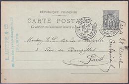 ENTIER Sage 10c Sur CPA Pub  De PARIS 82  Posté  Le 28 Avril 1898 Pour PARIS Avec Cachet 2 BD Doubles - Cartoline Postali E Su Commissione Privata TSC (ante 1995)