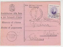 Avviso Di Ricevimento -Viaggiato Italy Italia - Marcophilia