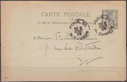 ENTIER Sage 10c  Sur CPA  De  PARIS.35 Posté  Le 8 Aout 1895  Pour PARIS    Cachet à Date Double BD - Cartoline Postali E Su Commissione Privata TSC (ante 1995)