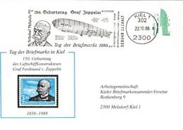 ! 1988 Tag Der Briefmarke, Kiel, Privatganzsache, PP157, Geburtstag Graf Zeppelin, 538 Blinddruck, Abart, Fehlende Farbe - Privatpostkarten - Gebraucht