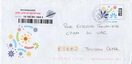PAP LETTRE VERTE FLEURS UTILISE EN  RECOMMANDE AR NICE 23/5/2018 POUR TOULON - Prêts-à-poster:  Autres (1995-...)