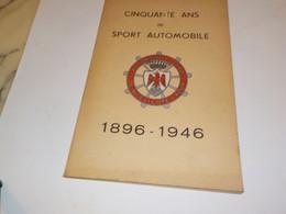 DOCUMENTATION  50 ANS DE SPORT AUTOMOBILE 1896-1946 - Advertising