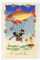 53148613 - Katzen Personifiziert Fisch Ballon Humor - April Fool's Day