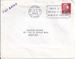 TYPE MARIANNE DE MULLER N°1011C SURCHARGE 12f CFA SUR LETTRE DE ST DENIS/REUNION/20.8.59 - 1955- Marianne De Muller