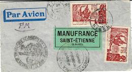1940- Enveloppe En F.M.  Affr. à 2,50 F. ( Taxe Avion ) Censure Française De L'A O F Pour St Etienne - Lettres & Documents