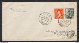 SPAGNA: 1952  LETTERA  AFFRANCATA  CON  2  VAL. -  50 C.+1,50 C. IN  TARIFFA  PER  L' ITALIA  -  YV/TELL. 669+829 - Marques De Censures Républicaines