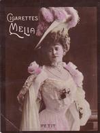 Chromo : Cigarettes : MELIA - Alger : Petit : Femme Chapeau à Plumes : Colorisée : 6,5cm X 5cm - Melia