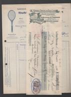 La Ferte Bernard (72 Sarthe)   Facture + Traite E. CRISSON. Raquettes, Skis.. Bois Cintré. 1934    (PPP27115) - 1900 – 1949