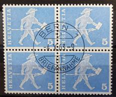 1960 Baudenkmäler Standesläufer Fribourg Viererblock MiNr: 696 - Used Stamps