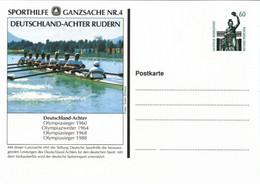 ! Sporthilfe GA Nr. 4, Rudern, Rowing, Bundesrepublik Privatganzsache, PP, 60 Pfg. Sehenswürdigkeiten Bavaria München - Privatpostkarten - Ungebraucht