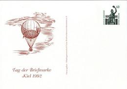 ! 1992 Kiel Tag Der Briefmarke, Ballon, Bundesrepublik Privatganzsache, PP, 60 Pfg. Sehenswürdigkeiten Bavaria München - Privatpostkarten - Ungebraucht