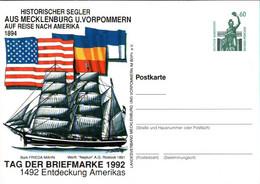! 1992 Tag Der Briefmarke, Rostock, USA, Schiff, Ship, Bundesrepublik Privatganzsache, PP, 60 Pfg. Sehenswürdigkeiten - Privatpostkarten - Ungebraucht