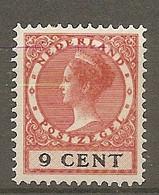 P-B 1924 Yv. N°  141  *  9c  Wilhelmine  Cote  2 Euro  BE  2 Scans - Unused Stamps