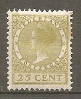 P-B 1925 Yv. N°  181 Fil Cercles  *  25 C  Wilhelmine  Cote  5,75 Euro  BE  R 2 Scans - Unused Stamps