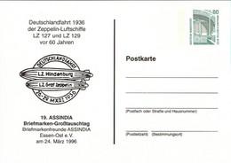 ! 1996 Essen, Luftschiff, Zeppelin, 1936 Deutschlandfahrt, Privatganzsache, PP, 80 Pfg. Sehenswürdigkeiten Zeche Zollern - Privatpostkarten - Ungebraucht