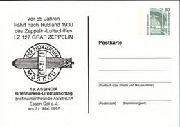 ! 1995 Essen, Luftschiff Zeppelin LZ127 Rußlandfahrt, Privatganzsache, PP, 80 Pfg. Sehenswürdigkeiten Zeche Zollern - Privatpostkarten - Ungebraucht