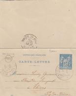 CARTE-LETTRE. 24 SEPT 1900. ENTIER SAGE. MESSEIX. PUY-DE-DOME. ORIGINE RURALE OR = SAVENNE. POUR THIERS - 1877-1920: Semi Modern Period