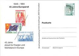 ! 1994 , 45 Jahre Europarat, Conseil De L Europe, Privatganzsache, PP, 80 Pfg. Sehenswürdigkeiten Zeche Zollern Dortmund - Privatpostkarten - Ungebraucht