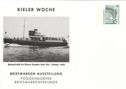 ! Kieler Woche Dampfer Ludwig, Privatganzsache, PP, 80 Pfg. Sehenswürdigkeiten Zeche Zollern Dortmund - Privatpostkarten - Ungebraucht