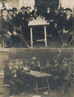2 Cartes Photo Vasselay Photo Réty Groupe Hommes Buvant Du Vin - Other Municipalities
