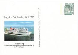 ! 1993 Kiel Tag Der Briefmarke, Schiff, Ship, Privatganzsache, PP, 80 Pfg. Sehenswürdigkeiten Zeche Zollern Dortmund - Privatpostkarten - Ungebraucht