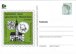 !  1993 Gera, Philatelistentag, Goethe, Privatganzsache, PP, 80 Pfg. Sehenswürdigkeiten Zeche Zollern Dortmund - Privatpostkarten - Ungebraucht