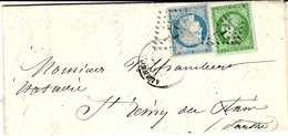 16 SEPT. 1871 -  Lettre D'Alençon ( Orne ) Affr. N°37 + N° 43 R2   Oblit.  G C 57 - 1849-1876: Classic Period