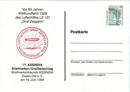 !  1994 Essen, Zeppelin LZ 127 Weltrundfahrt, Privatganzsache, PP, 80 Pfg. Sehenswürdigkeiten Zeche Zollern - Privatpostkarten - Ungebraucht