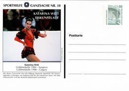 !  Sporthilfe GA Nr.10, Katarina Witt, Privatganzsache, PP, 80 Pfg. Sehenswürdigkeiten Zeche Zollern Dortmund - Privé Postkaarten - Ongebruikt