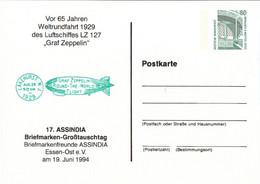 !  1994 Essen, Weltrundfahrt Zeppelin LZ127, Privatganzsache, PP, 80 Pfg. Sehenswürdigkeiten Zeche Zollern - Privatpostkarten - Ungebraucht