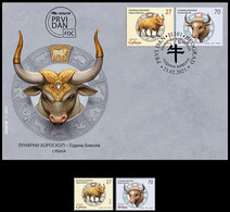 Serbia 2021 Lunar Horoscope, Chinese New Year, Year Of OX , Fauna, Animals, China, FDC+set, MNH - Astrology