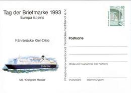 !  1993 Tag Der Briefmarke, Colorline Kiel Oslo, Privatganzsache, PP, 80 Pfg. Sehenswürdigkeiten Zeche Zollern Dortmund - Privatpostkarten - Ungebraucht