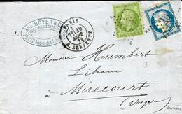 30 SEPT. 1871 - Lettre De PARIS / R. SERPENTE  Affr. N°37 + N°20 Oblit. étoile 25  - Dernier Jour Des Affr. De Septembre - 1849-1876: Classic Period