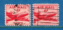 ⭐ Etats Unis - YT PA N° 34 Et 35 - Oblitéré - Poste Aérienne - 1947 à 1949 ⭐ - 2a. 1941-1960 Usados