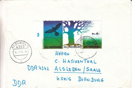 Pays Bas - Lettre De 1974 - Oblit Alsleben - Oiseaux - Arbres - Pêche - Briefe U. Dokumente