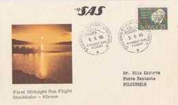 Suéde, 1° Vol (soleil De Minuit) Stockholm-Kiruna Par SAS Le 5/6/65 Sur N° 512, Au Dos Polcirkeln 8/6/65 - Briefe U. Dokumente