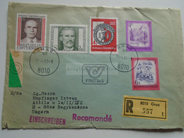 AV649.3 Austria  Recommanded  Cover Einschreiben  Cancel 1980 GRAZ  - Sent To Hungary Nagykanizsa - 1971-80 Cartas