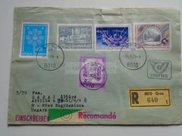 AV649.4 Austria  Recommanded  Cover Einschreiben  Cancel 1979 GRAZ  - Sent To Hungary Nagykanizsa - 1971-80 Cartas