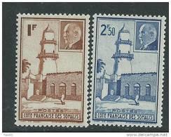 Cote Des Somalis N° 191 / 92 X Mosquée De Djibouti Et Mal Pétain, La Paire Trace De Charnière Sinon TB - Ungebraucht