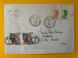 13271 - Lettre De Valence-Championnet 01.08.1986 Taxée Pour La Suisse - Covers & Documents