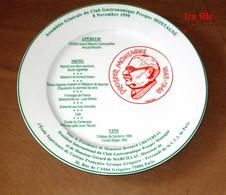 Club Gastronomique Prosper Montagné 1999 Porcelaine Pillivuyt Gastronomie Menu / - Plates