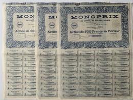 Action / Magasins Monoprix, Paris 1935, 500 Francs / Lot De 3 - Unclassified