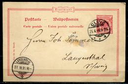 "German Empires 1896 GS Adler In Kreis Mi.Nr.P??? Mit Klaren Tagesstempel ""Cleve ""vom 25.6.96 ""1 GS Bef. - Covers & Documents"