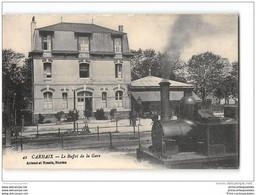 CPA 29 Carhaix Le Buffet De La Gare Et Le Train Tramway Ligne De Carhaix Chateaulin Camaret - Carhaix-Plouguer