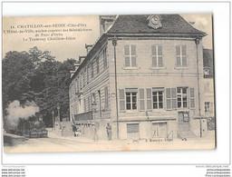 CPA 21 Chatillon Sur Seine Hotel De Ville La Gare Et Le Train Tramway Ligne De Dijon Chatillon - Chatillon Sur Seine