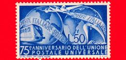 Nuovo - MNH - ITALIA - 1949 - 75º Anniversario Dell'U.P.U. - Unione Postale - Mezzi Di Trasporto E Due Emisferi - 50 - 1946-60: Mint/hinged