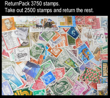 ReturnPack EUROPE WEST 3750 STAMPS Off Paper Kiloware MissionBag Take Out 2500 Stamps And Return The Rest. All For +€10 - Lots & Kiloware (mixtures) - Min. 1000 Stamps